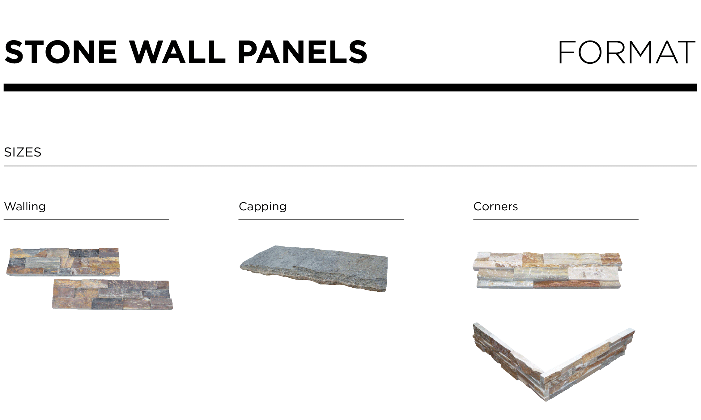 Stone wall panels walling format types