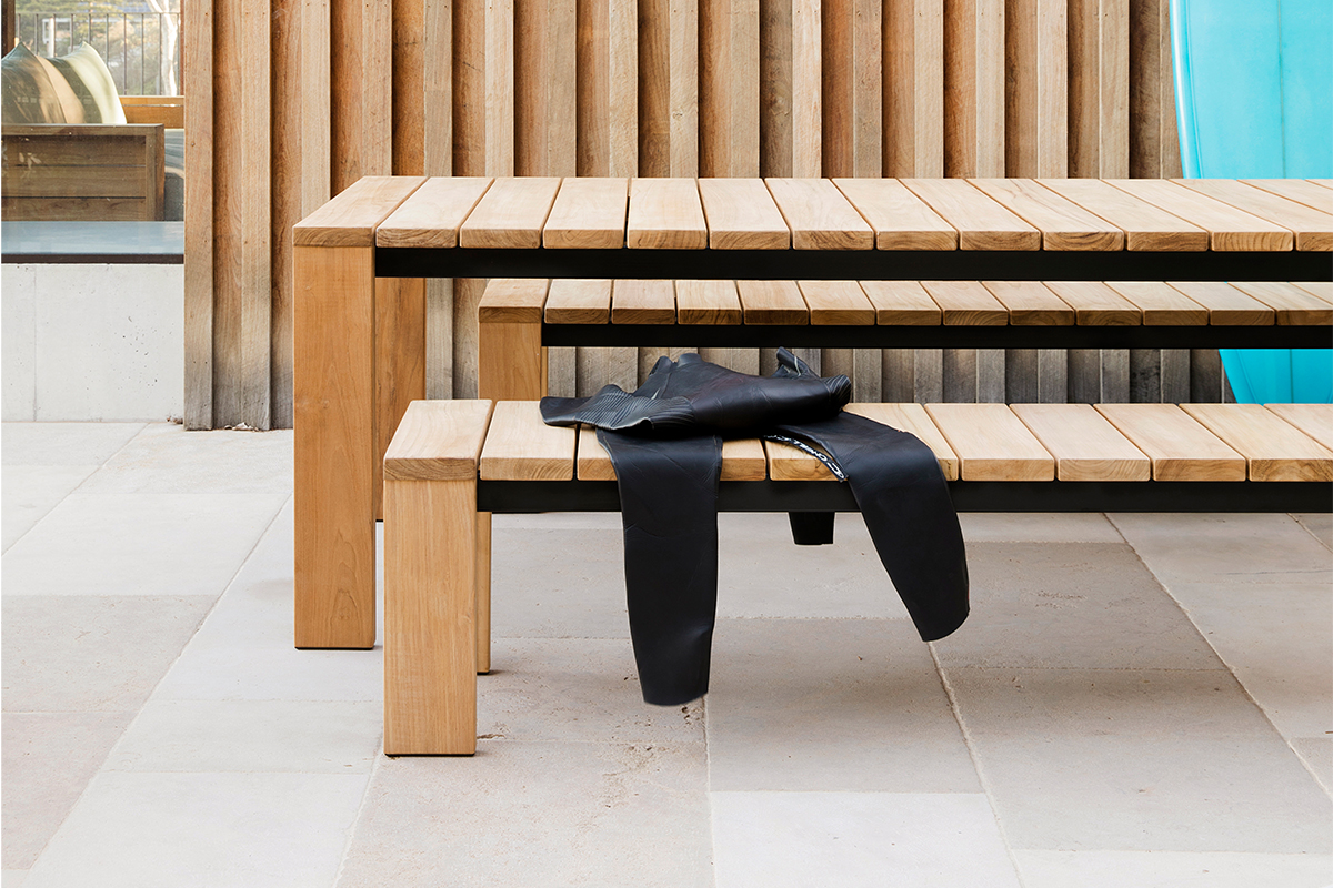 outdoor dining table and bench