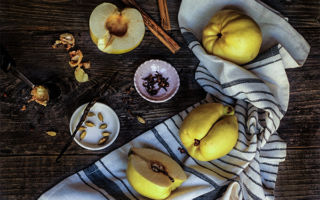 Spiced baked quinces with ricotta cream