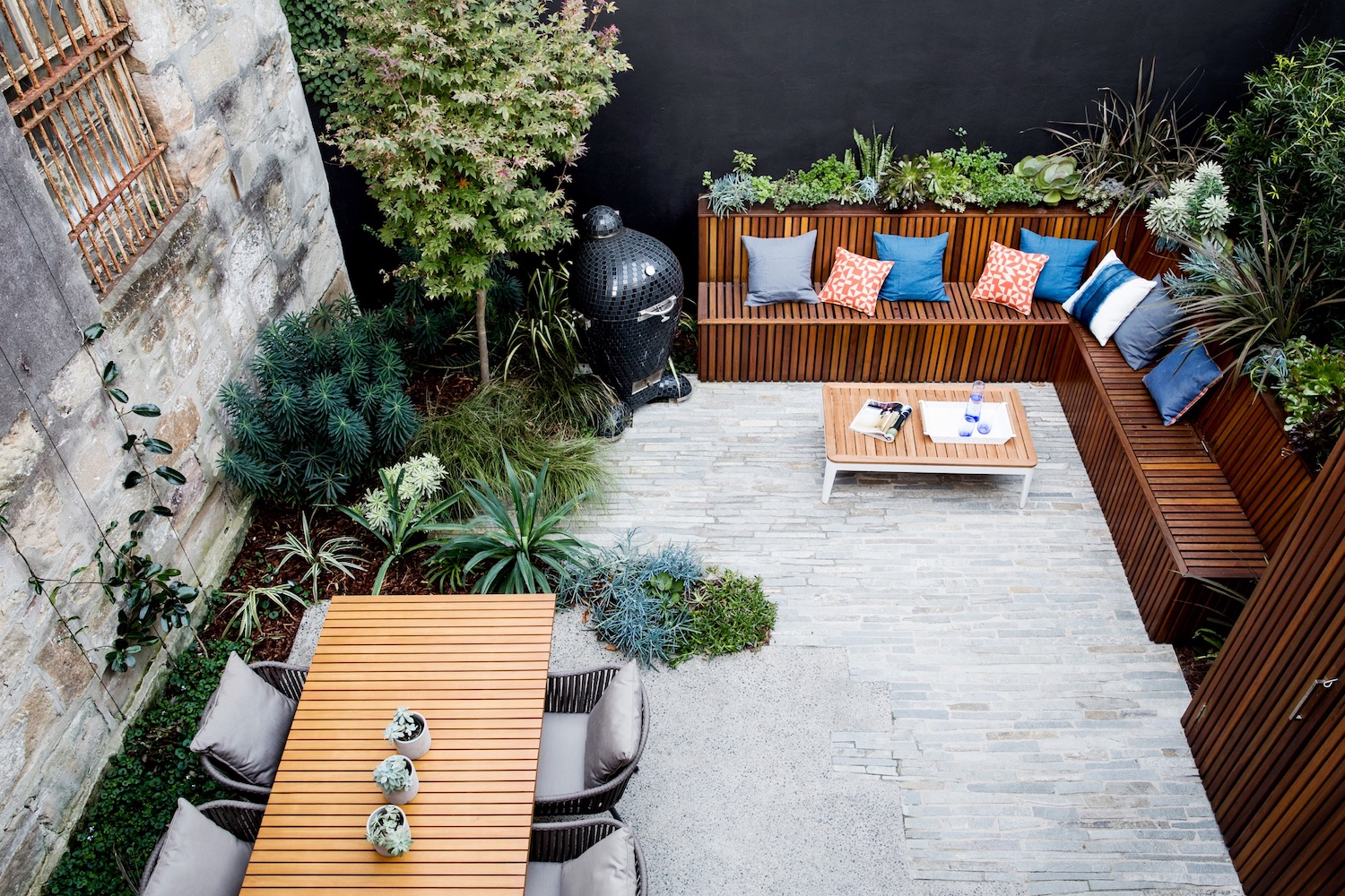 Space for plenty to gather outdoors in this garden courtyard